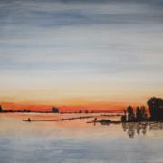 Creatempel schilderij klanten workshop schilderen Ondergaande zon