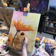 Creatempel schilderij klanten workshop schilderen bloem