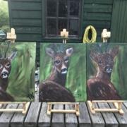 Creatempel schilderij klanten workshop schilderen hertjes vriendinnen